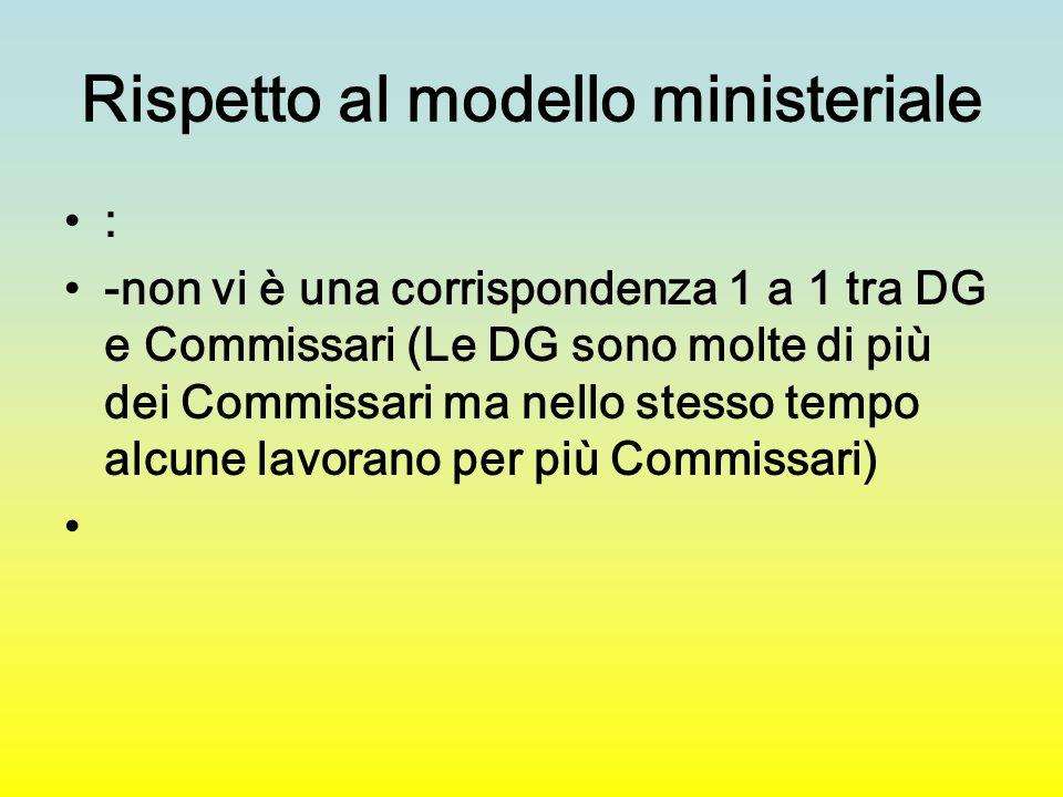 Rispetto al modello ministeriale : -non vi è una corrispondenza 1 a 1 tra DG e Commissari (Le DG sono molte di più dei Commissari ma nello stesso tempo alcune lavorano per più Commissari)