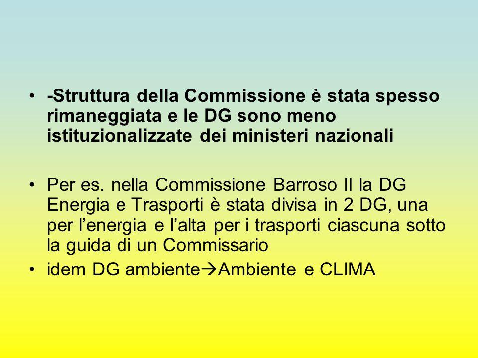-Struttura della Commissione è stata spesso rimaneggiata e le DG sono meno istituzionalizzate dei ministeri nazionali Per es. nella Commissione Barros