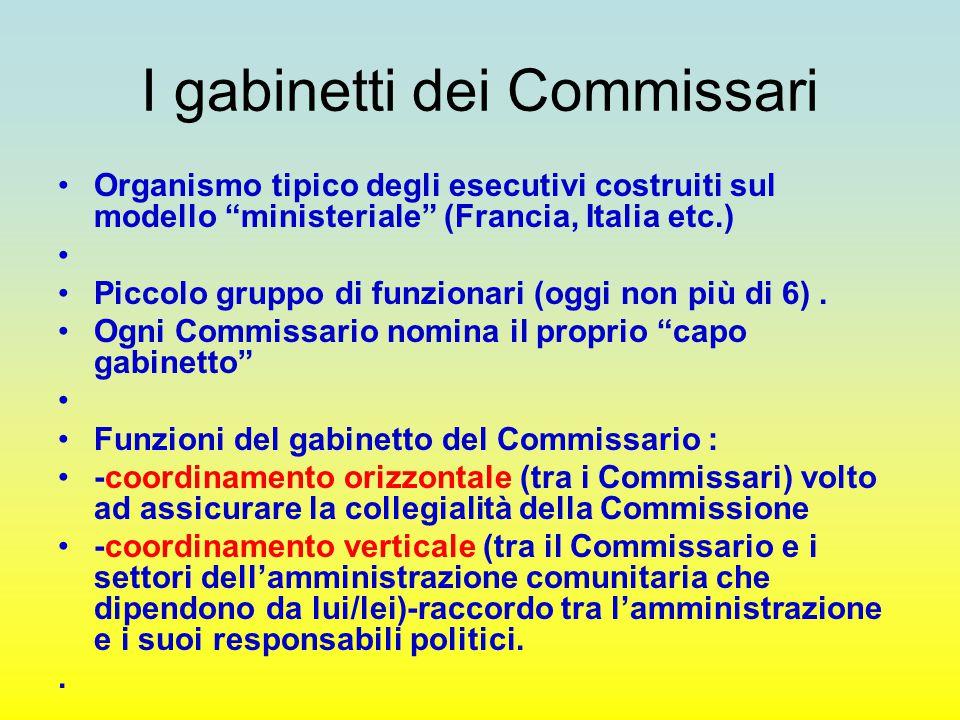 """I gabinetti dei Commissari Organismo tipico degli esecutivi costruiti sul modello """"ministeriale"""" (Francia, Italia etc.) Piccolo gruppo di funzionari ("""