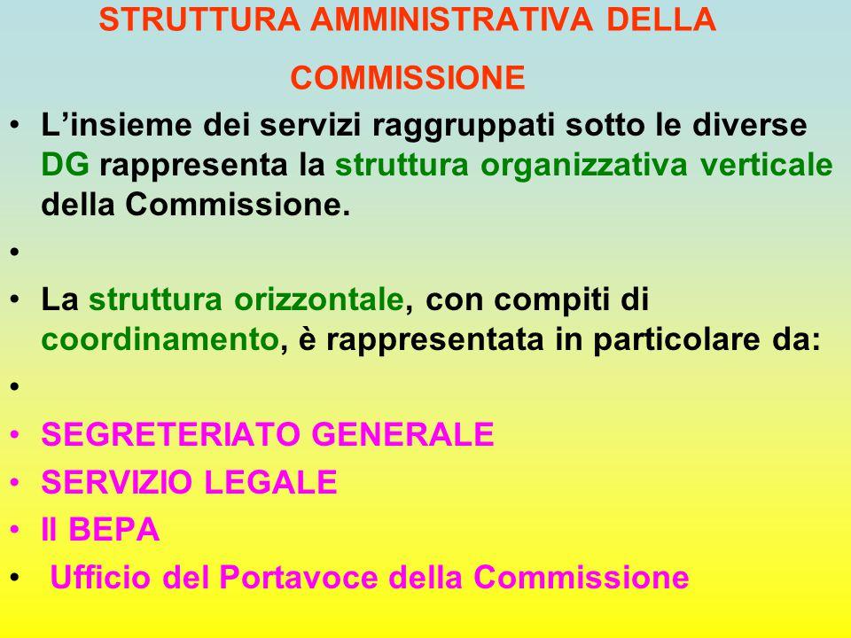 STRUTTURA AMMINISTRATIVA DELLA COMMISSIONE L'insieme dei servizi raggruppati sotto le diverse DG rappresenta la struttura organizzativa verticale dell