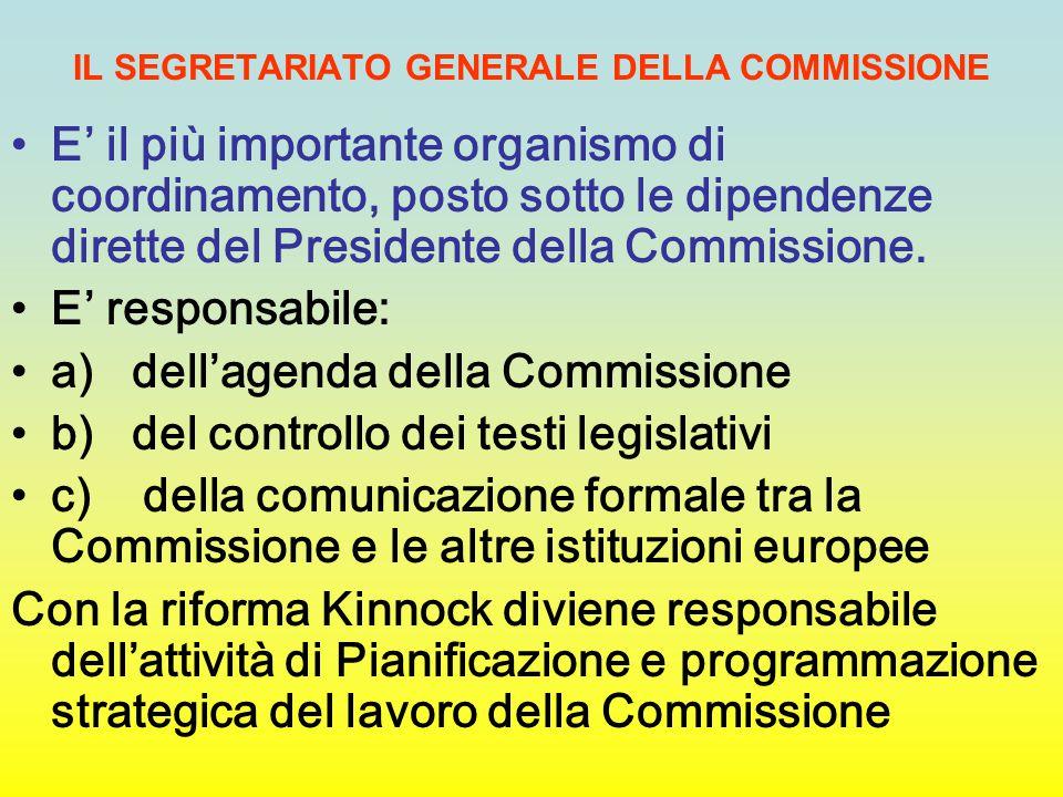 IL SEGRETARIATO GENERALE DELLA COMMISSIONE E' il più importante organismo di coordinamento, posto sotto le dipendenze dirette del Presidente della Com