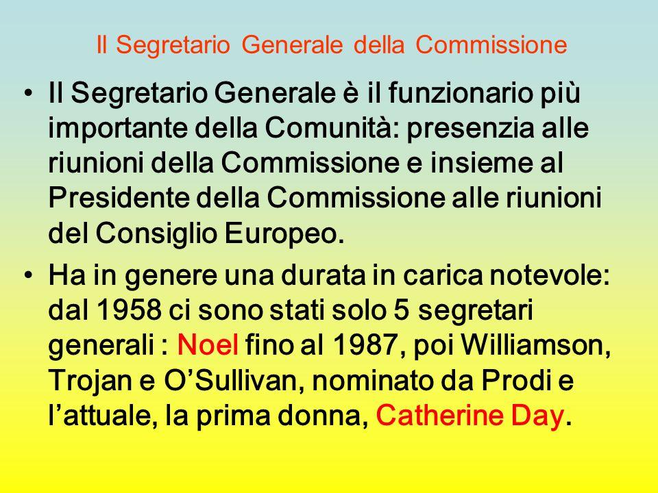 Il Segretario Generale della Commissione Il Segretario Generale è il funzionario più importante della Comunità: presenzia alle riunioni della Commissi