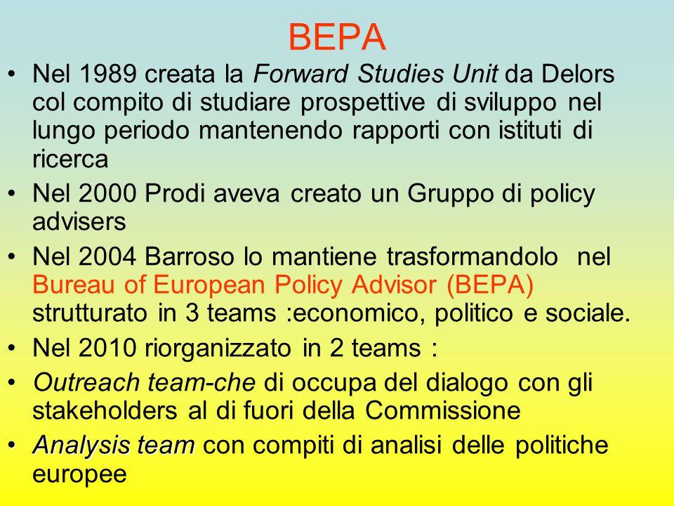BEPA Nel 1989 creata la Forward Studies Unit da Delors col compito di studiare prospettive di sviluppo nel lungo periodo mantenendo rapporti con istituti di ricerca Nel 2000 Prodi aveva creato un Gruppo di policy advisers Nel 2004 Barroso lo mantiene trasformandolo nel Bureau of European Policy Advisor (BEPA) strutturato in 3 teams :economico, politico e sociale.