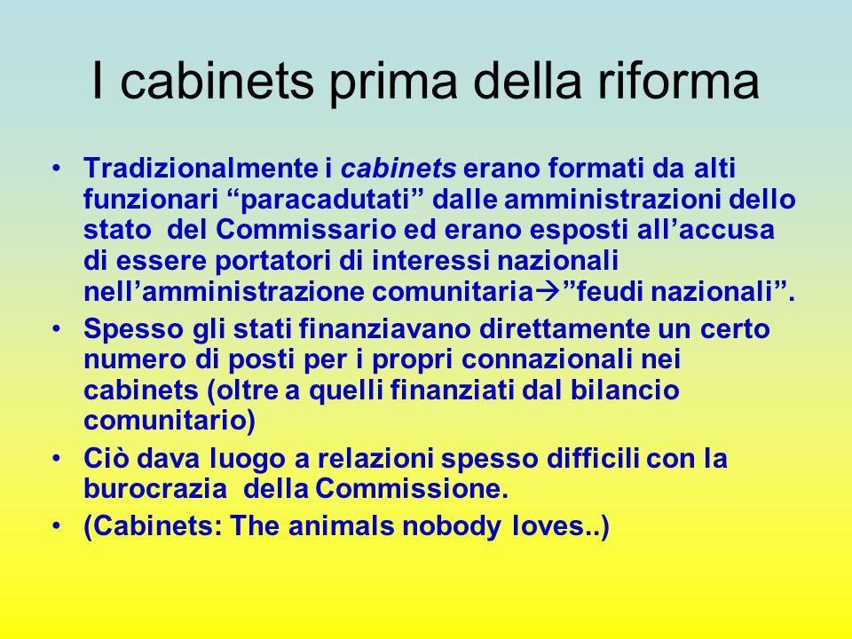 """I cabinets prima della riforma Tradizionalmente i cabinets erano formati da alti funzionari """"paracadutati"""" dalle amministrazioni dello stato del Commi"""