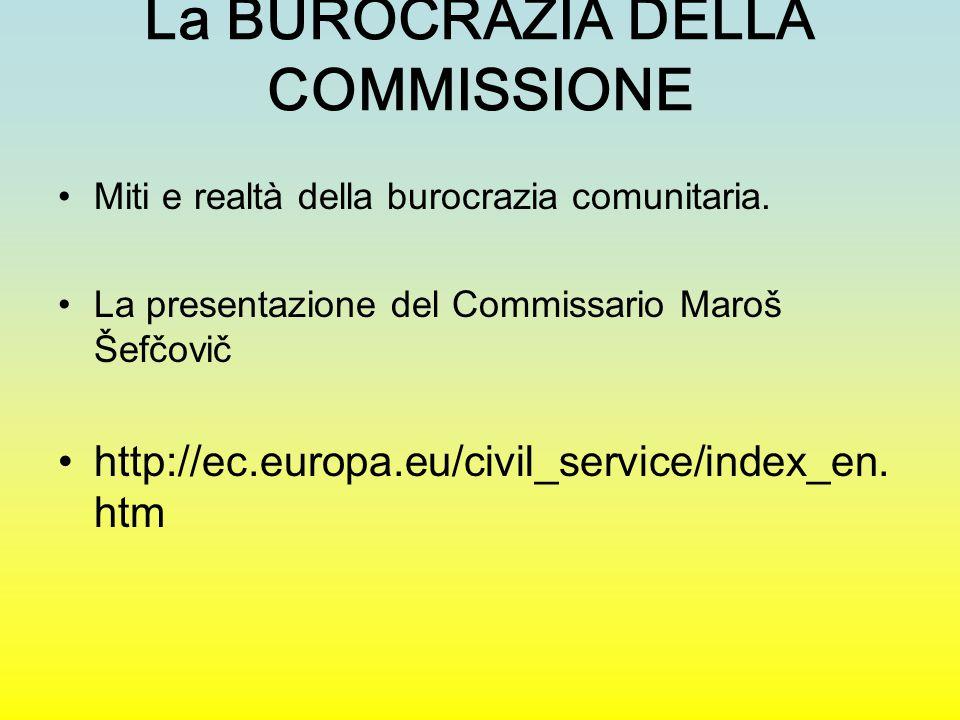 La BUROCRAZIA DELLA COMMISSIONE Miti e realtà della burocrazia comunitaria. La presentazione del Commissario Maroš Šefčovič http://ec.europa.eu/civil_