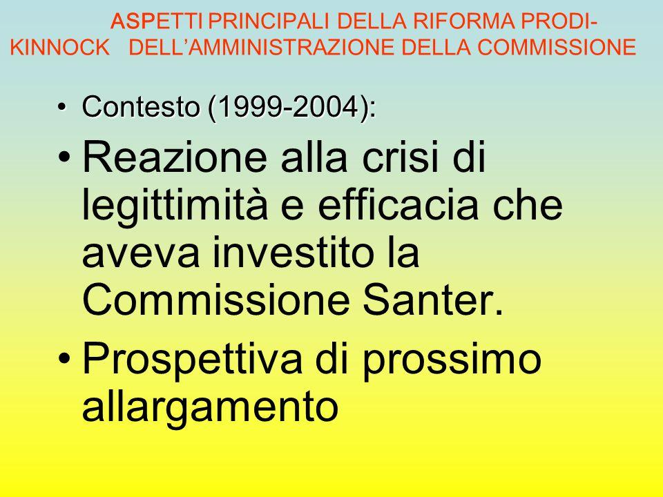 ASPETTI PRINCIPALI DELLA RIFORMA PRODI- KINNOCK DELL'AMMINISTRAZIONE DELLA COMMISSIONE Contesto (1999-2004):Contesto (1999-2004): Reazione alla crisi