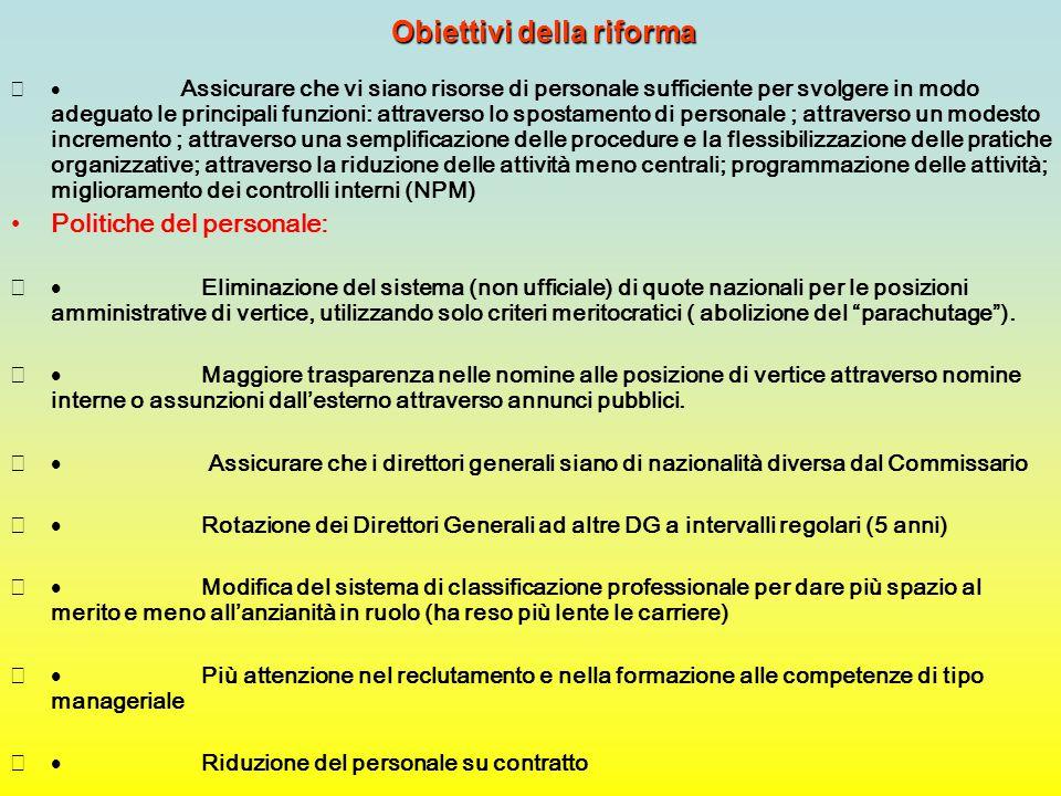 Obiettivi della riforma  Assicurare che vi siano risorse di personale sufficiente per svolgere in modo adeguato le principali funzioni: attraverso l