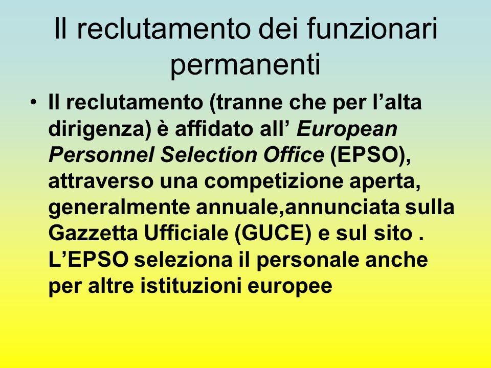 Il reclutamento dei funzionari permanenti Il reclutamento (tranne che per l'alta dirigenza) è affidato all' European Personnel Selection Office (EPSO), attraverso una competizione aperta, generalmente annuale,annunciata sulla Gazzetta Ufficiale (GUCE) e sul sito.