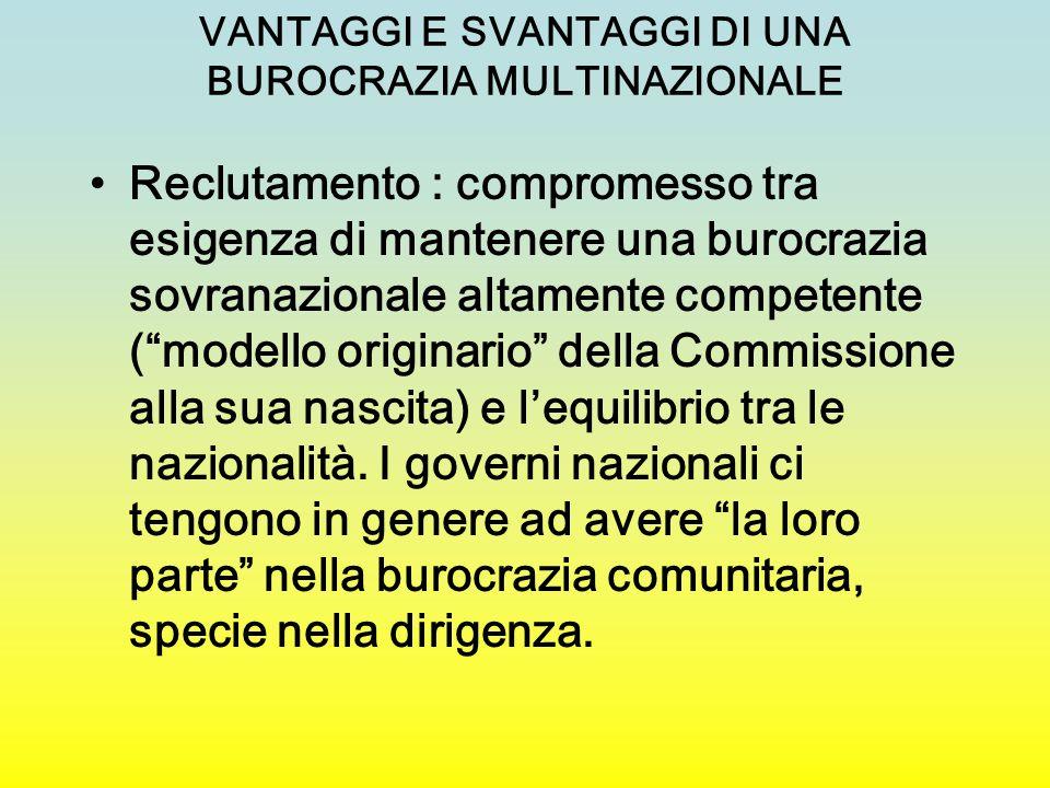VANTAGGI E SVANTAGGI DI UNA BUROCRAZIA MULTINAZIONALE Reclutamento : compromesso tra esigenza di mantenere una burocrazia sovranazionale altamente com