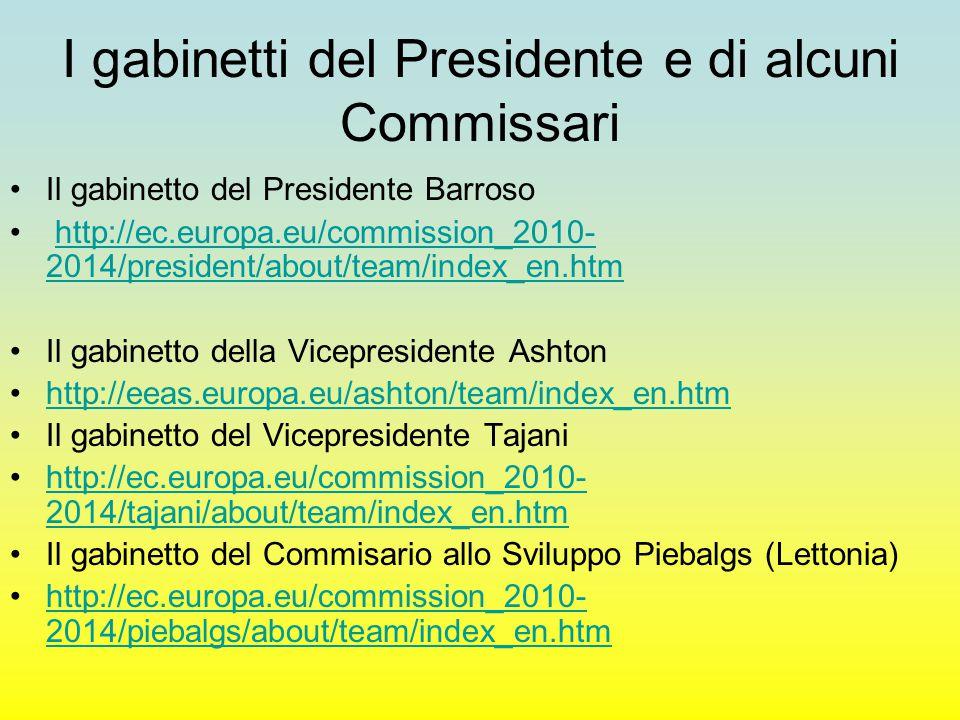 La gerarchia delle DG Commissario cabinet Direttore Generale Direttore Capo divisione