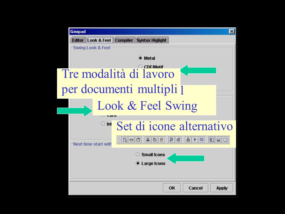 Impostazione del Look & Feel Swing Tre modalità di lavoro per documenti multipli Set di icone alternativo
