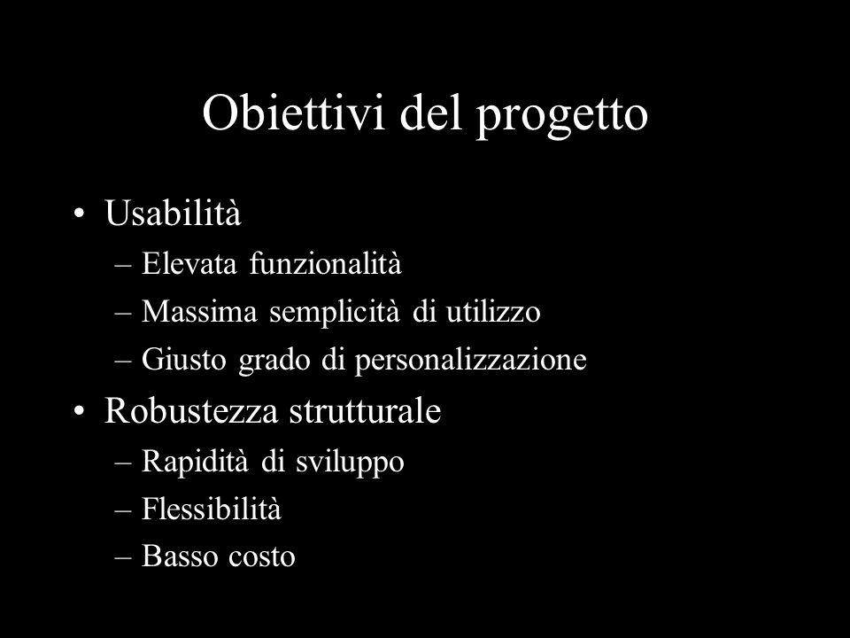 Obiettivi del progetto Usabilità –Elevata funzionalità –Massima semplicità di utilizzo –Giusto grado di personalizzazione Robustezza strutturale –Rapi