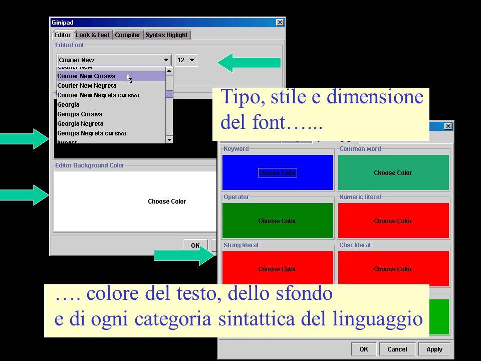 Tipo, stile e dimensione del font…... …. colore del testo, dello sfondo e di ogni categoria sintattica del linguaggio