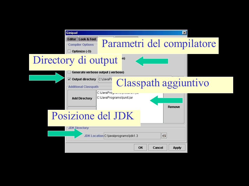 Parametri del compilatore Directory di output Classpath aggiuntivo Posizione del JDK