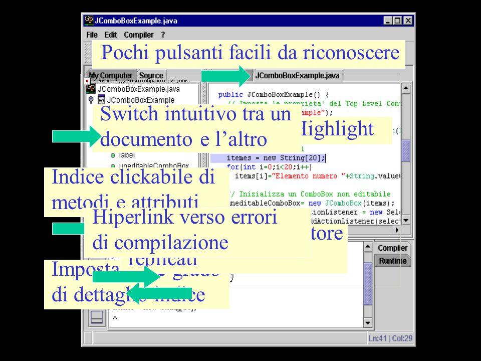 Pochi pulsanti facili da riconoscere Syntax Highlight Switch intuitivo tra un documento e l'altro Indice clickabile di metodi e attributi Impostazione
