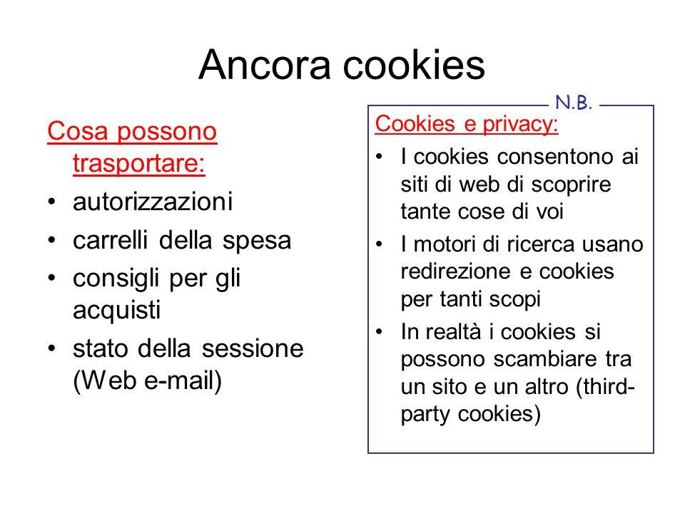 Ancora cookies Cosa possono trasportare: autorizzazioni carrelli della spesa consigli per gli acquisti stato della sessione (Web e-mail) Cookies e pri