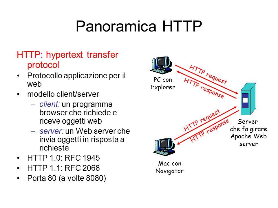 Panoramica HTTP HTTP: hypertext transfer protocol Protocollo applicazione per il web modello client/server –client: un programma browser che richiede