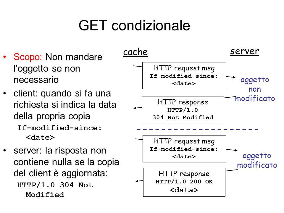 GET condizionale Scopo: Non mandare l'oggetto se non necessario client: quando si fa una richiesta si indica la data della propria copia If-modified-s