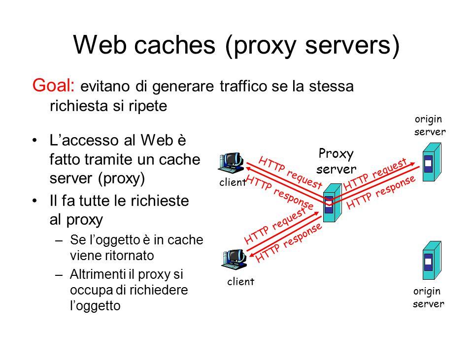 Web caches (proxy servers) L'accesso al Web è fatto tramite un cache server (proxy) Il fa tutte le richieste al proxy –Se l'oggetto è in cache viene r