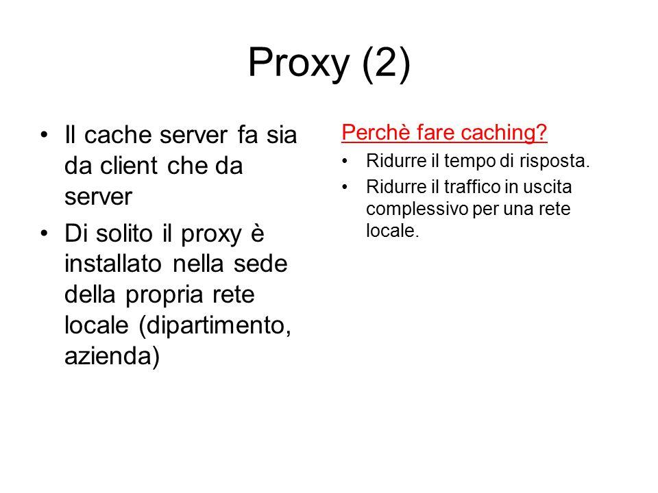 Proxy (2) Il cache server fa sia da client che da server Di solito il proxy è installato nella sede della propria rete locale (dipartimento, azienda)