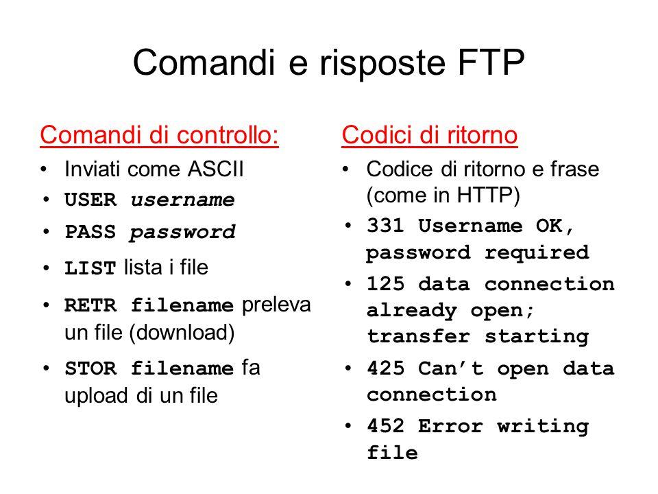 Comandi e risposte FTP Comandi di controllo: Inviati come ASCII USER username PASS password LIST lista i file RETR filename preleva un file (download)