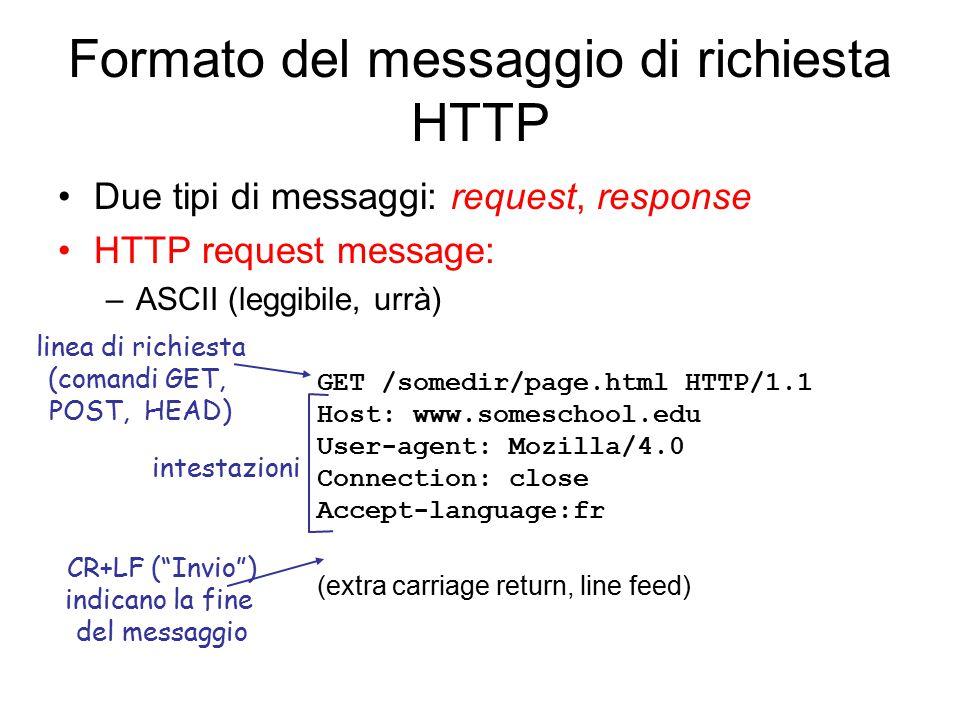 Formato del messaggio di richiesta HTTP Due tipi di messaggi: request, response HTTP request message: –ASCII (leggibile, urrà) GET /somedir/page.html