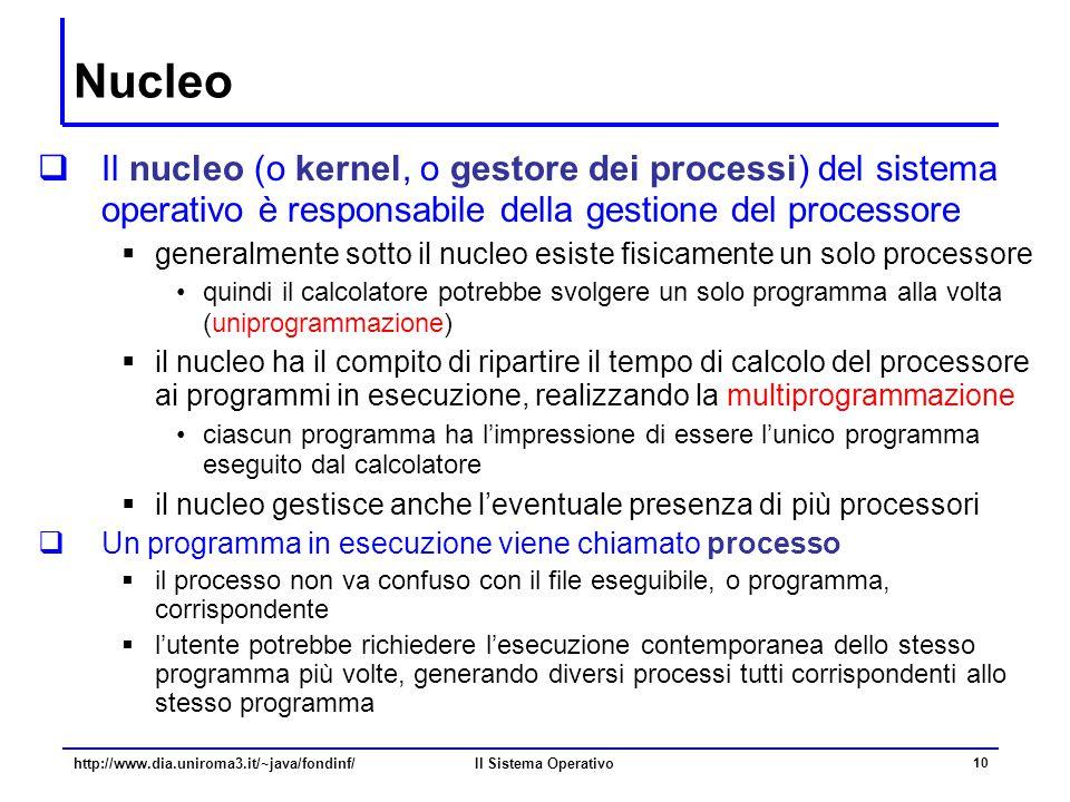 Il Sistema Operativo 10 Nucleo  Il nucleo (o kernel, o gestore dei processi) del sistema operativo è responsabile della gestione del processore  gen