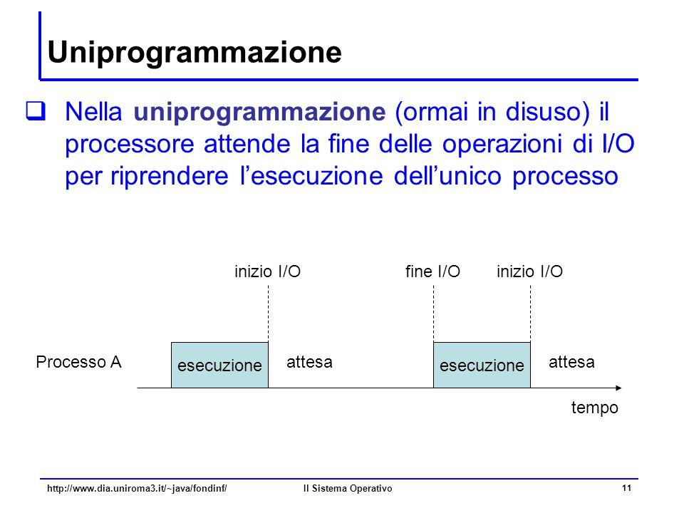 Il Sistema Operativo 11 Uniprogrammazione  Nella uniprogrammazione (ormai in disuso) il processore attende la fine delle operazioni di I/O per ripren