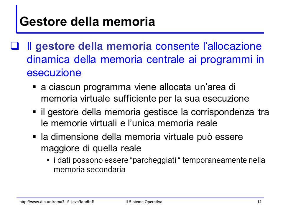 Il Sistema Operativo 13 Gestore della memoria  Il gestore della memoria consente l'allocazione dinamica della memoria centrale ai programmi in esecuz