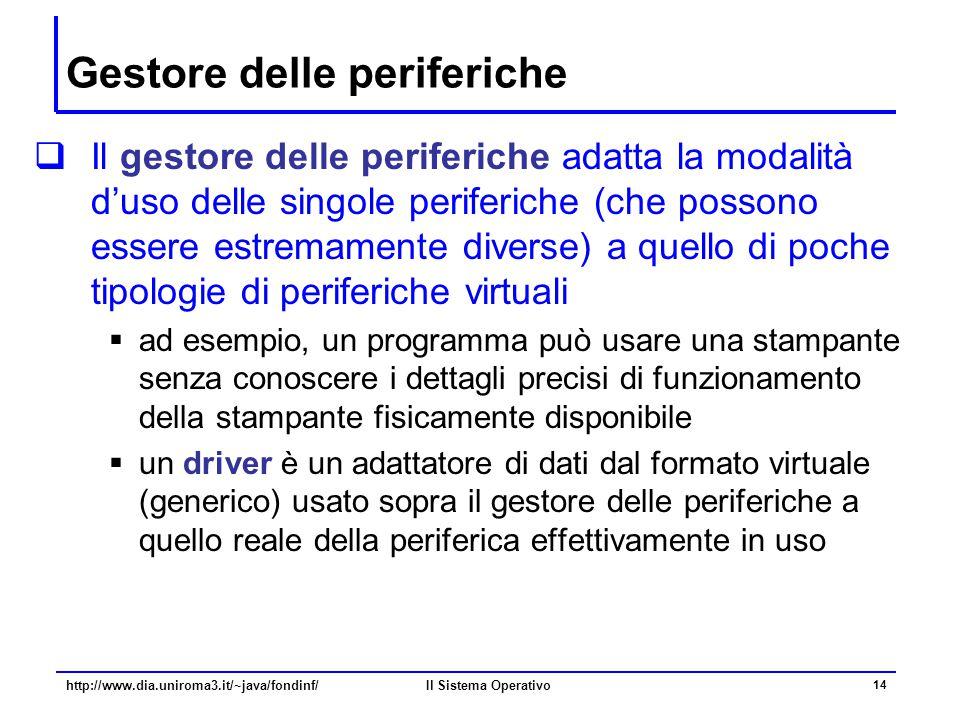 Il Sistema Operativo 14 Gestore delle periferiche  Il gestore delle periferiche adatta la modalità d'uso delle singole periferiche (che possono esser