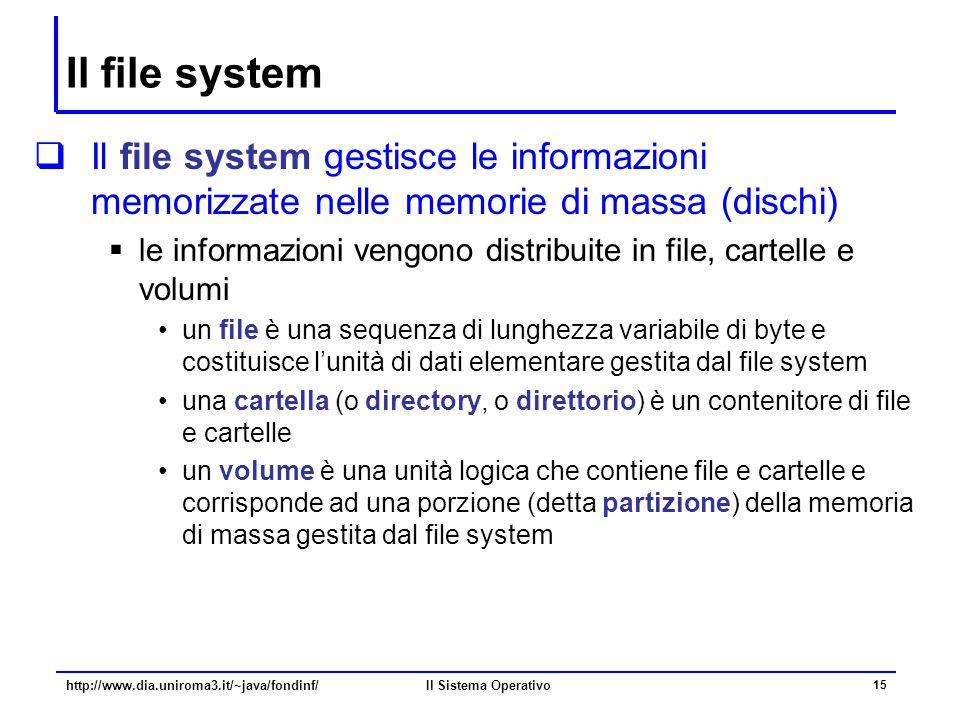 Il Sistema Operativo 15 Il file system  Il file system gestisce le informazioni memorizzate nelle memorie di massa (dischi)  le informazioni vengono