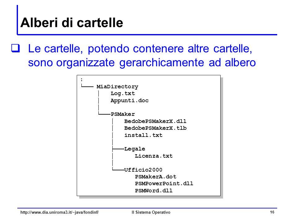 Il Sistema Operativo 16 Alberi di cartelle  Le cartelle, potendo contenere altre cartelle, sono organizzate gerarchicamente ad albero : └─── MiaDirec