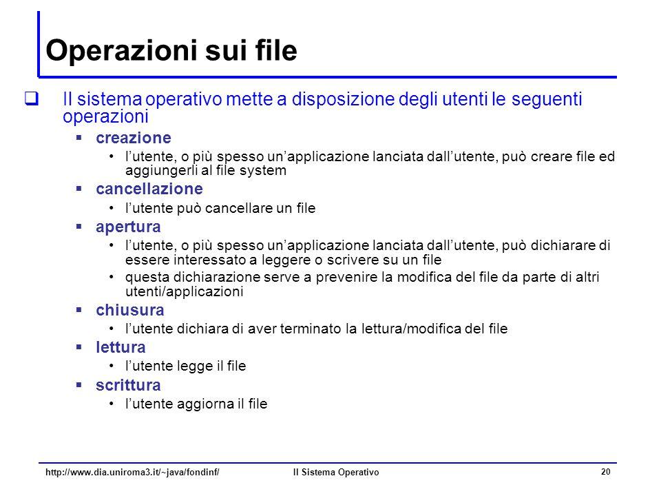 Il Sistema Operativo 20 Operazioni sui file  Il sistema operativo mette a disposizione degli utenti le seguenti operazioni  creazione l'utente, o pi