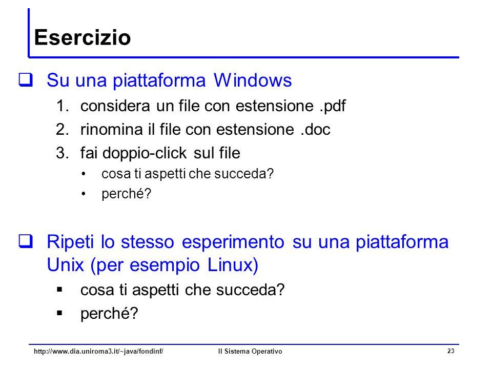 Il Sistema Operativo 23 Esercizio  Su una piattaforma Windows 1.considera un file con estensione.pdf 2.rinomina il file con estensione.doc 3.fai dopp