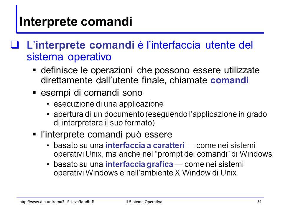 Il Sistema Operativo 25 Interprete comandi  L'interprete comandi è l'interfaccia utente del sistema operativo  definisce le operazioni che possono e