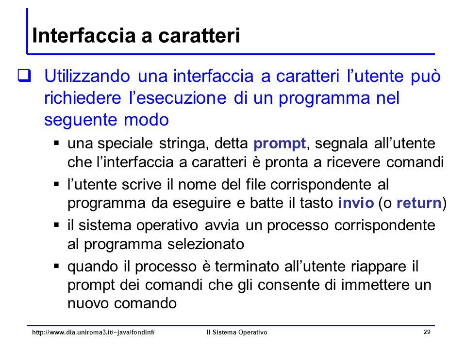 Il Sistema Operativo 29 Interfaccia a caratteri  Utilizzando una interfaccia a caratteri l'utente può richiedere l'esecuzione di un programma nel seg