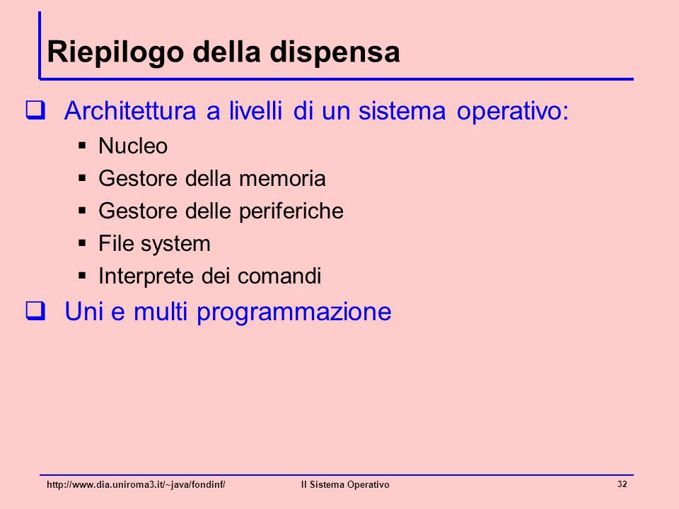 Riepilogo della dispensa  Architettura a livelli di un sistema operativo:  Nucleo  Gestore della memoria  Gestore delle periferiche  File system