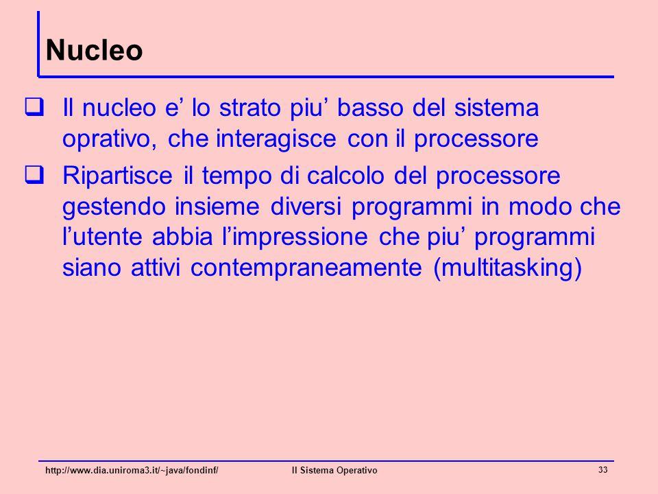 Nucleo  Il nucleo e' lo strato piu' basso del sistema oprativo, che interagisce con il processore  Ripartisce il tempo di calcolo del processore ges