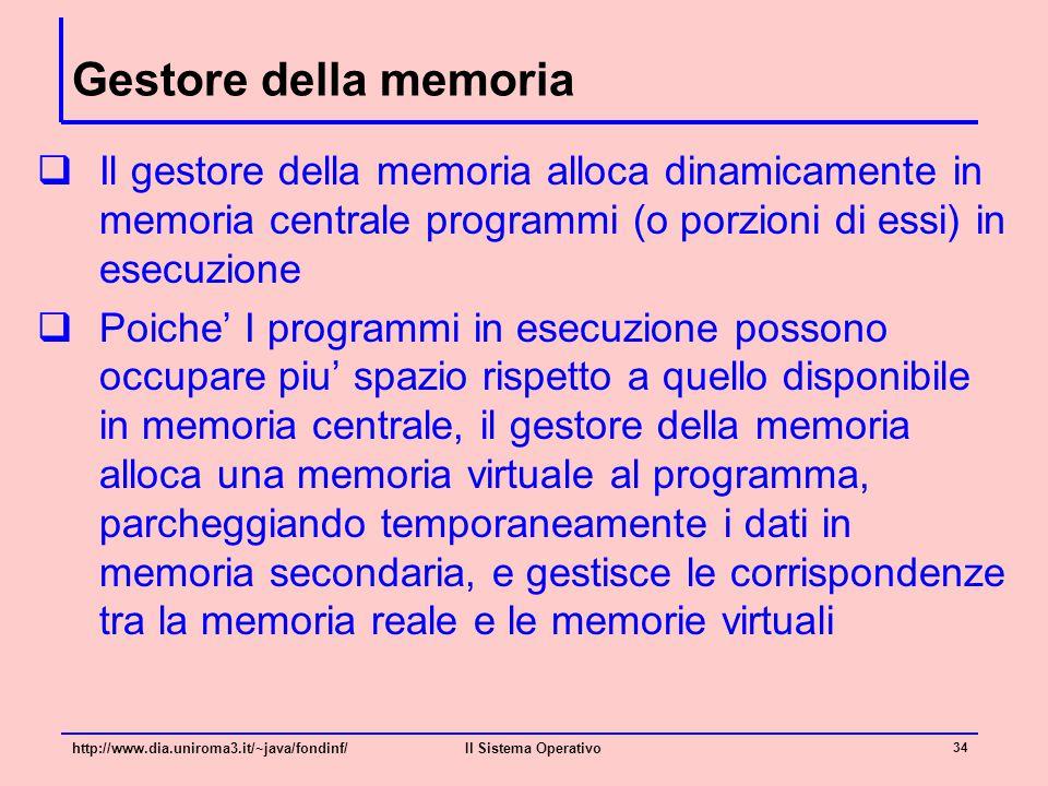 Gestore della memoria  Il gestore della memoria alloca dinamicamente in memoria centrale programmi (o porzioni di essi) in esecuzione  Poiche' I pro
