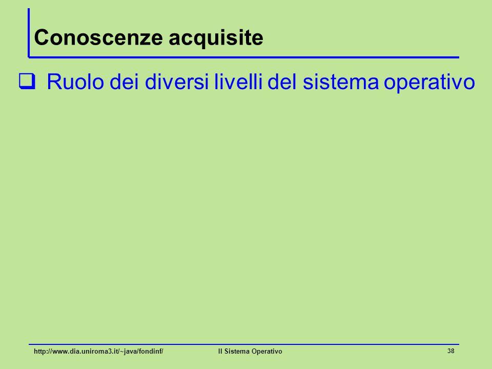 Il Sistema Operativo 38 Conoscenze acquisite  Ruolo dei diversi livelli del sistema operativo http://www.dia.uniroma3.it/~java/fondinf/