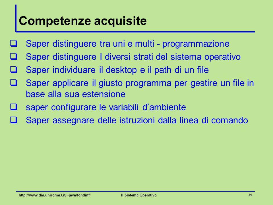Il Sistema Operativo 39 Competenze acquisite  Saper distinguere tra uni e multi - programmazione  Saper distinguere I diversi strati del sistema ope