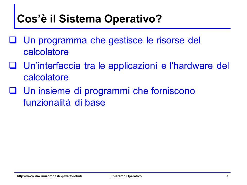 Il Sistema Operativo 5 Cos'è il Sistema Operativo?  Un programma che gestisce le risorse del calcolatore  Un'interfaccia tra le applicazioni e l'har