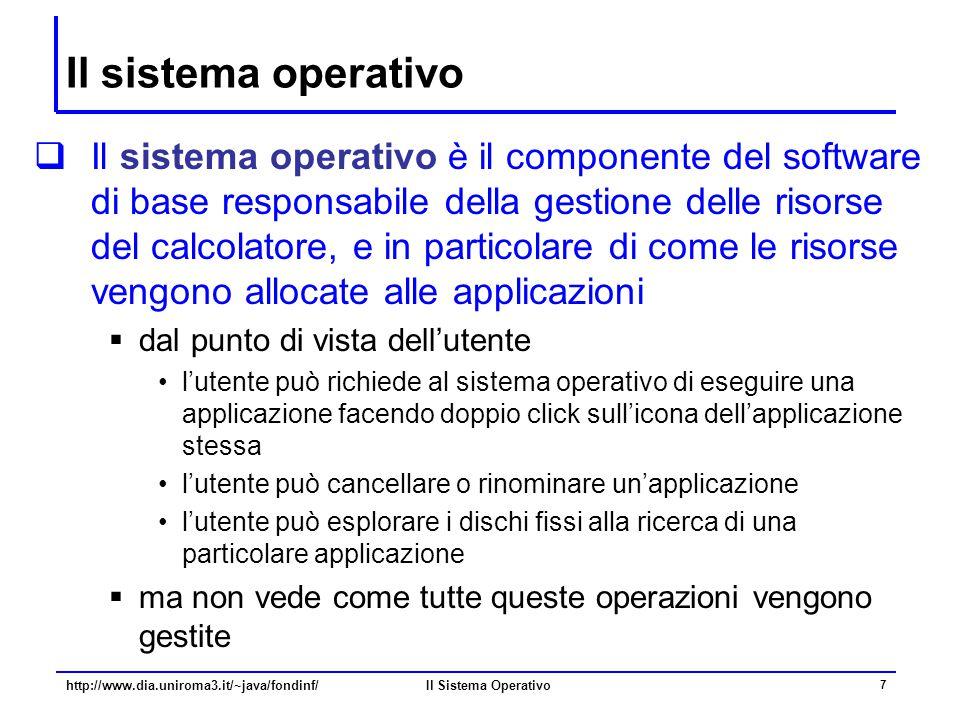 Il Sistema Operativo 7 Il sistema operativo  Il sistema operativo è il componente del software di base responsabile della gestione delle risorse del