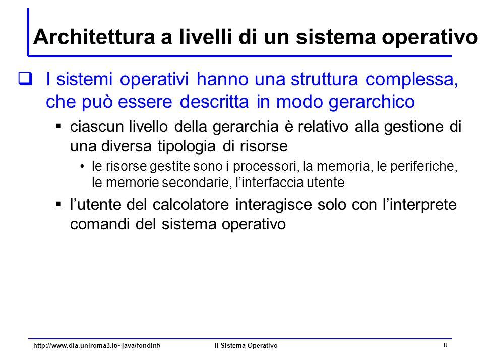 Il Sistema Operativo 8 Architettura a livelli di un sistema operativo  I sistemi operativi hanno una struttura complessa, che può essere descritta in