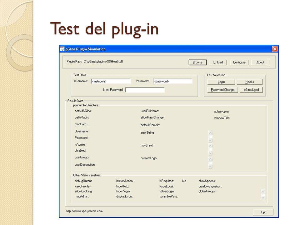 Test del plug-in