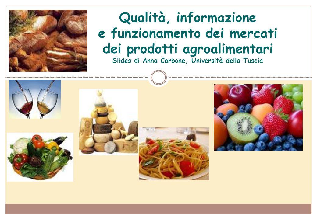 Qualità, informazione e funzionamento dei mercati dei prodotti agroalimentari 4 argomenti: o L'evoluzione della domanda di alimenti o Qualità, informazione e fallimento del mercato o I marchi individuali ed i marchi collettivi o L'origine dei prodotti: DOP-IGP