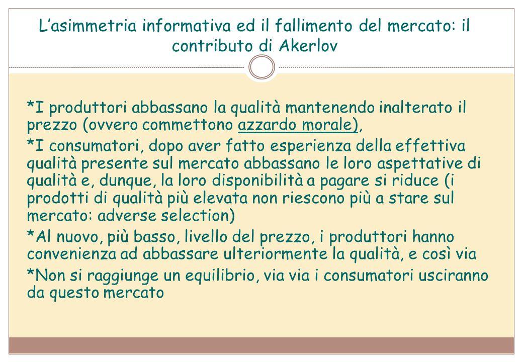 L'asimmetria informativa ed il fallimento del mercato: il contributo di Akerlov *I produttori abbassano la qualità mantenendo inalterato il prezzo (ov