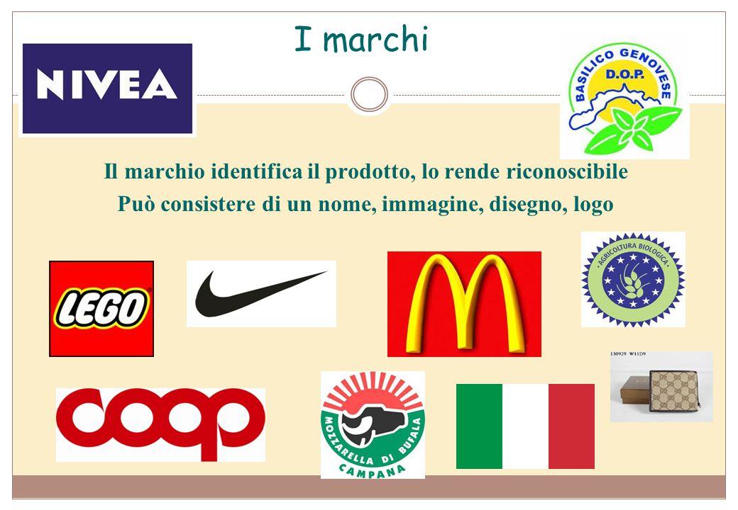 I marchi Il marchio identifica il prodotto, lo rende riconoscibile Può consistere di un nome, immagine, disegno, logo