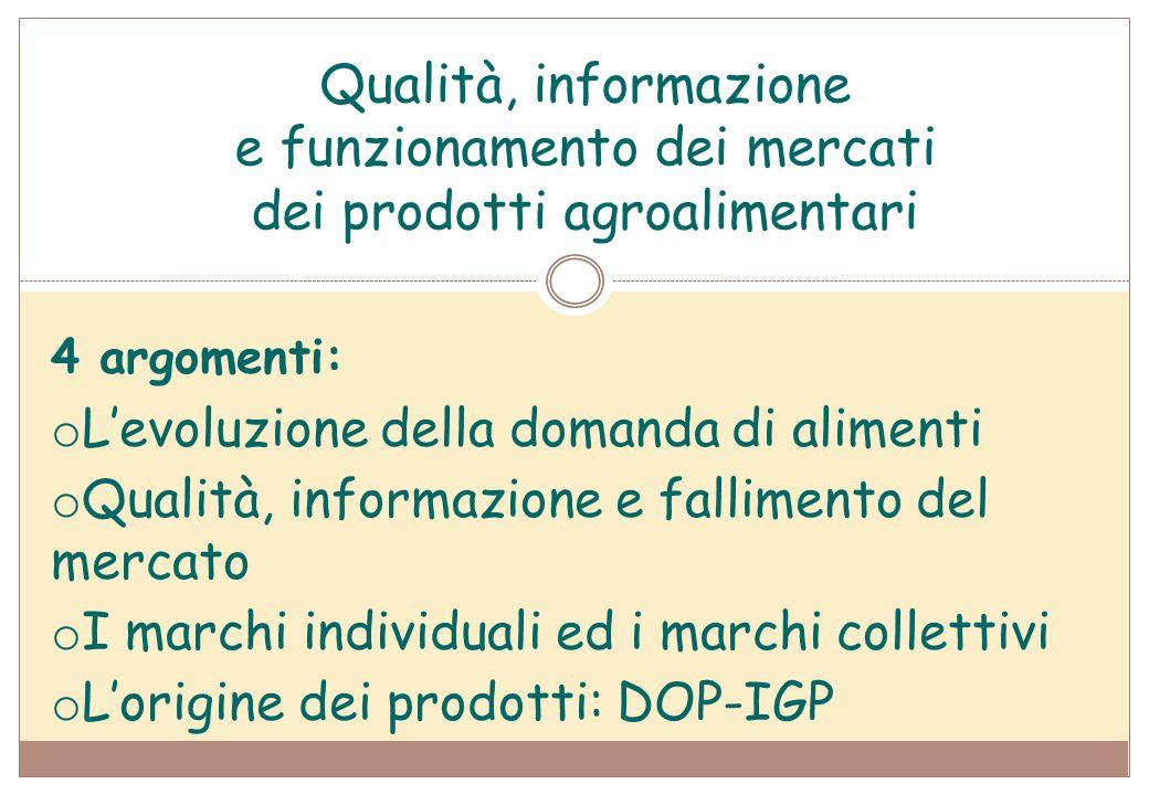 Qualità, informazione e funzionamento dei mercati dei prodotti agroalimentari 4 argomenti: o L'evoluzione della domanda di alimenti o Qualità, informa