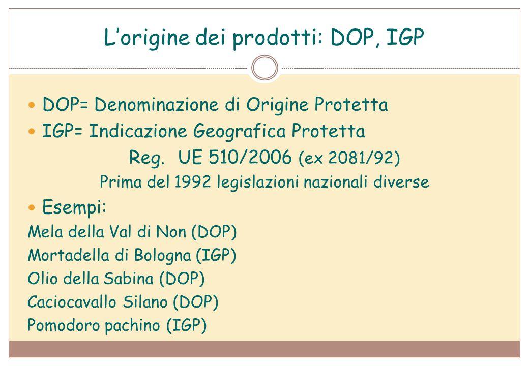 L'origine dei prodotti: DOP, IGP DOP= Denominazione di Origine Protetta IGP= Indicazione Geografica Protetta Reg.UE 510/2006 (ex 2081/92) Prima del 19